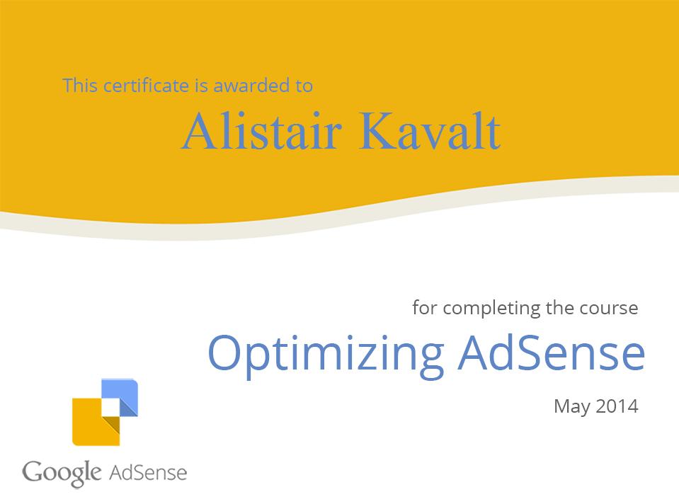 Adsense Certification for Alistair Kavalt