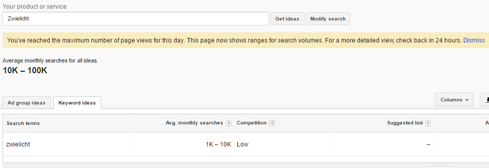 Adwords Keyword Planner Close Variants data ranges