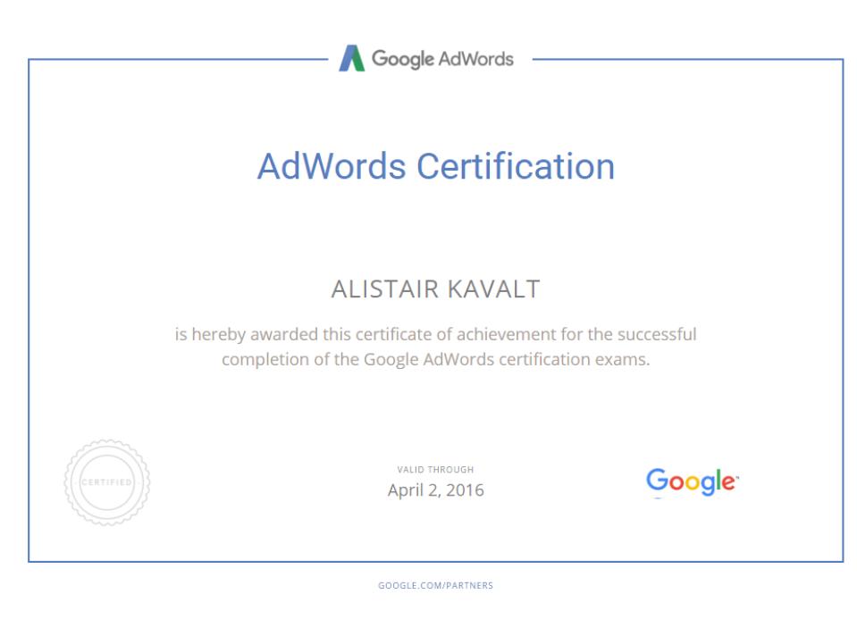 Alistair Kavalt Adwords Certification