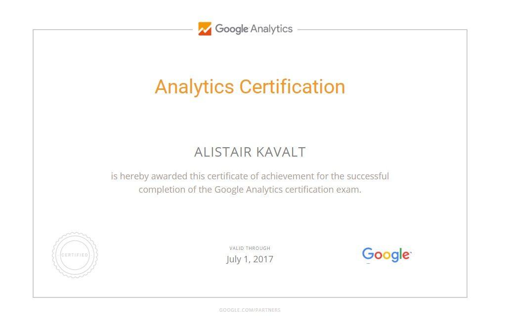 Alistair Kavalt Google Analytics IQ