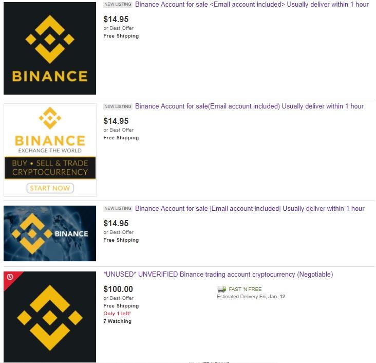 Selling Binance Accounts on eBay