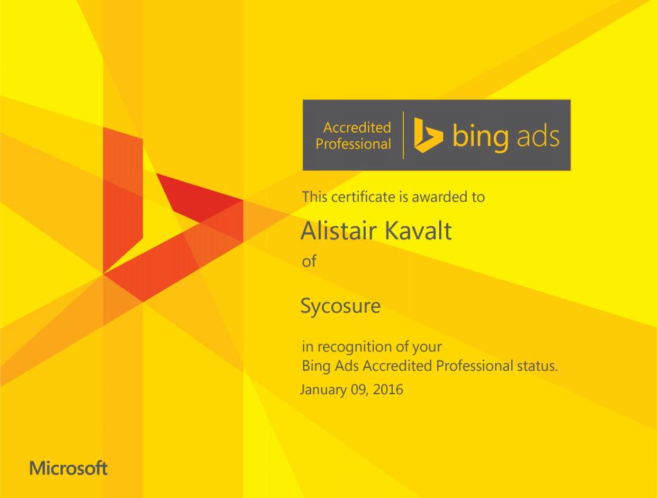 Bing Ads Alistair Kavalt Sycosure