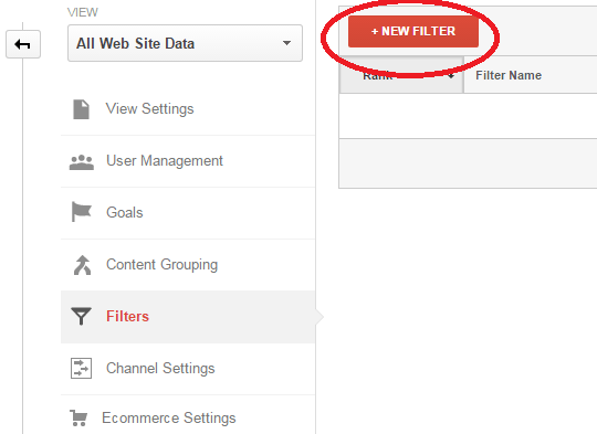Google Analytics Add New Filter
