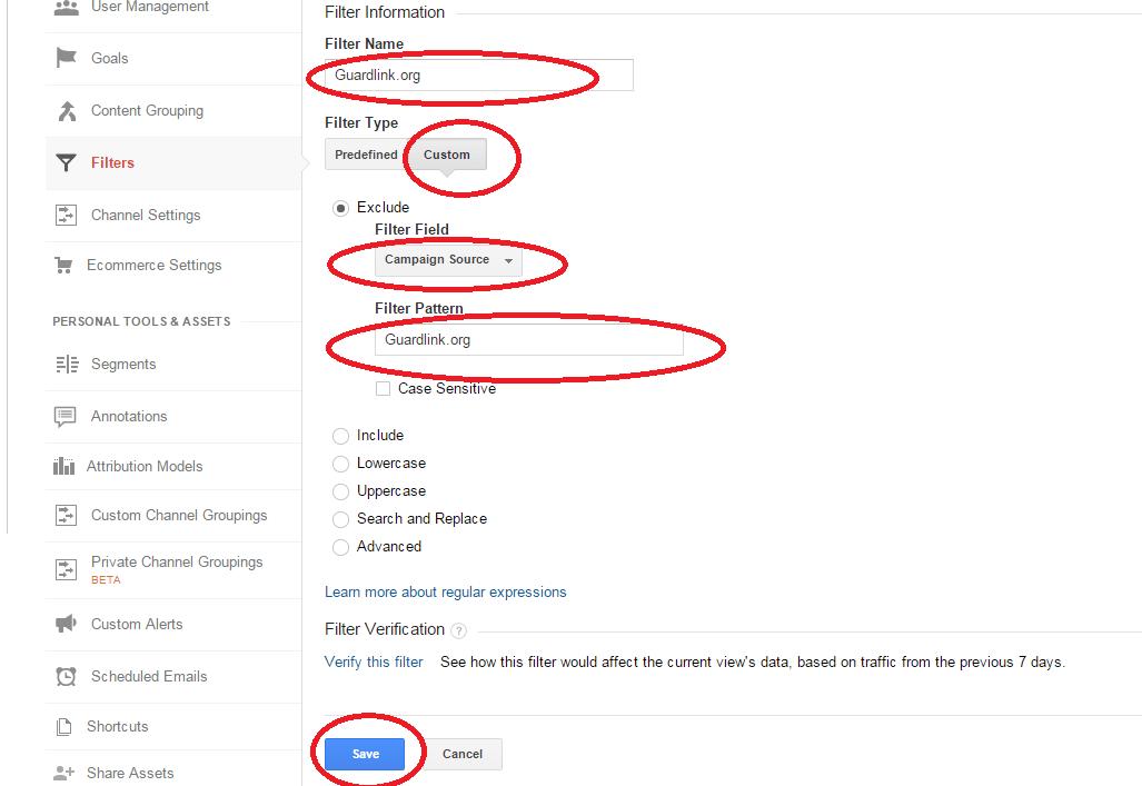 Google Analytics Filter Information