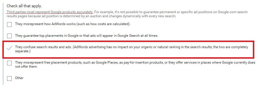 Google Partners Complaint Form