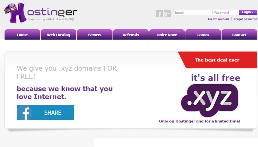 Hostinger Free Domain And Web Hosting