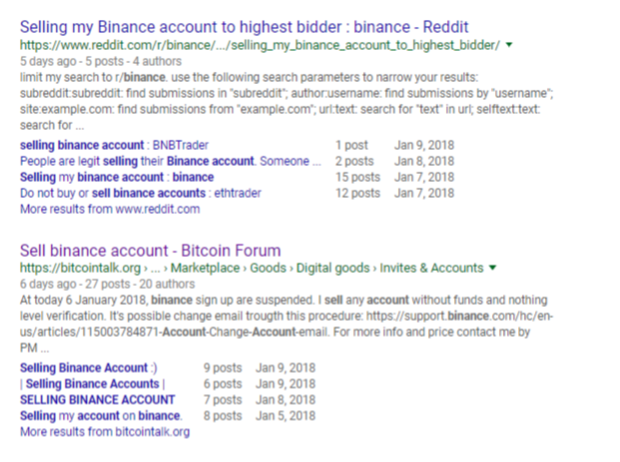 Selling Binance Accounts on Forums